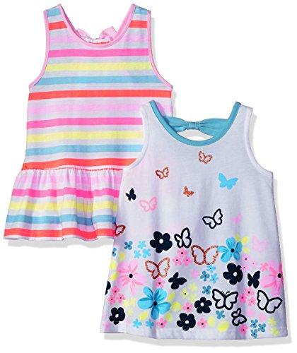 Gerber Graduates Girls' Toddler' 2 Pack Top, Stripes/Butterflies, 3T