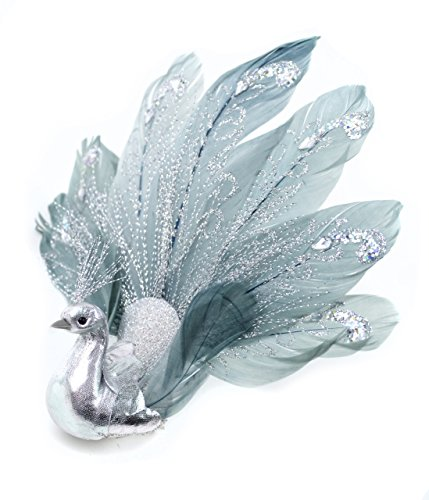 Touch of Nature Fancy Feather Glitter Peacock, 7-Inch, Silver