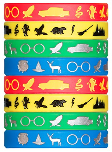 Wizard Houses Silicone Wristbands - 8 Pack Party Favor Set (2 of Each Color)