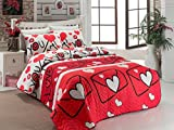 3 Pcs Soft Colored Full and Double Bed Size Bedroom Bedding 65% Cotton Double Quilted Bedspread Set 100% Fiber Filling Padded Soft Relaxed Comfortable Pattern Love Romantic Bedspread Set