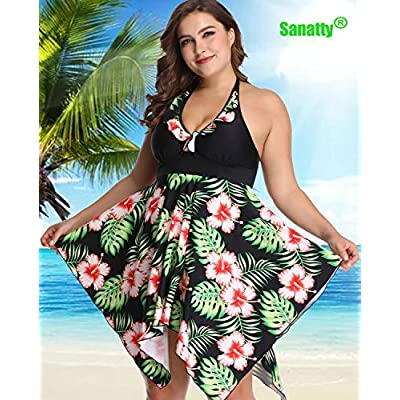 sanatty Women's Plus Size Swimsuit Floral Printed Plus Swimwear Tankini Two Pieces Swimdress 2XL-6XL: Clothing