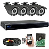 GW Security 8 Channel HD 5.0MP (2592TVL) Outdoor/Indoor Security Camera System with 4 x 5MP HD 1920P CCTV Camera, Pre-Installed 2TB Hard Drive, High Resolution Long Transmit Range (Bullet cameras)
