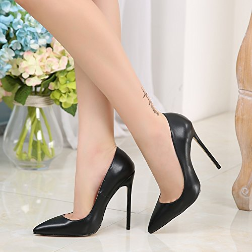 Donna Slip Stiletto Heel On Caitlin 45 Toe Eu Matte Black 35 Pan Pumps High Col Dress Formal Size Scarpe Shoes Tacco Pointed Pv5x7Sqv