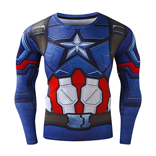 Red Plume Men's Compression Sports Shirt Cool Captain US Running Long Sleeve Tee (M, Captain) (America Clothing)