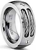 8MM Men's Titanium Ring Wedding Band with Stainless Steel Cables and Screw Design Size 9.5