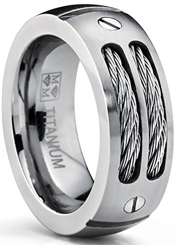 Ring Cable Titanium (8MM Men's Titanium Ring Wedding Band with Stainless Steel Cables and Screw Design Size 9.5)