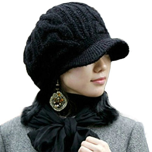 SIGGI Black Women 100 Merino Wool Thick Knit Winter Beret Newsgirl Hat Visor Cap