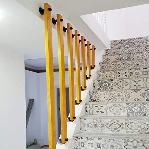DLT Wood Staircase Balusters with Iron Base, Safety Rails Stairway Railing, Staircase Kit Parts, Stairs Protector, Safe Rail for Balcony Enough to Install, Brown (Size : 80cm)