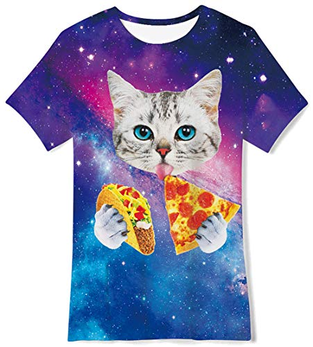 7T Cat Pizza Galaxy 3D Printed T-Shirts Casual Daily Tee Short Sleeve Top Crewneck Cool Soft Playwear Clthing for Teenager Youth Girls Boys -