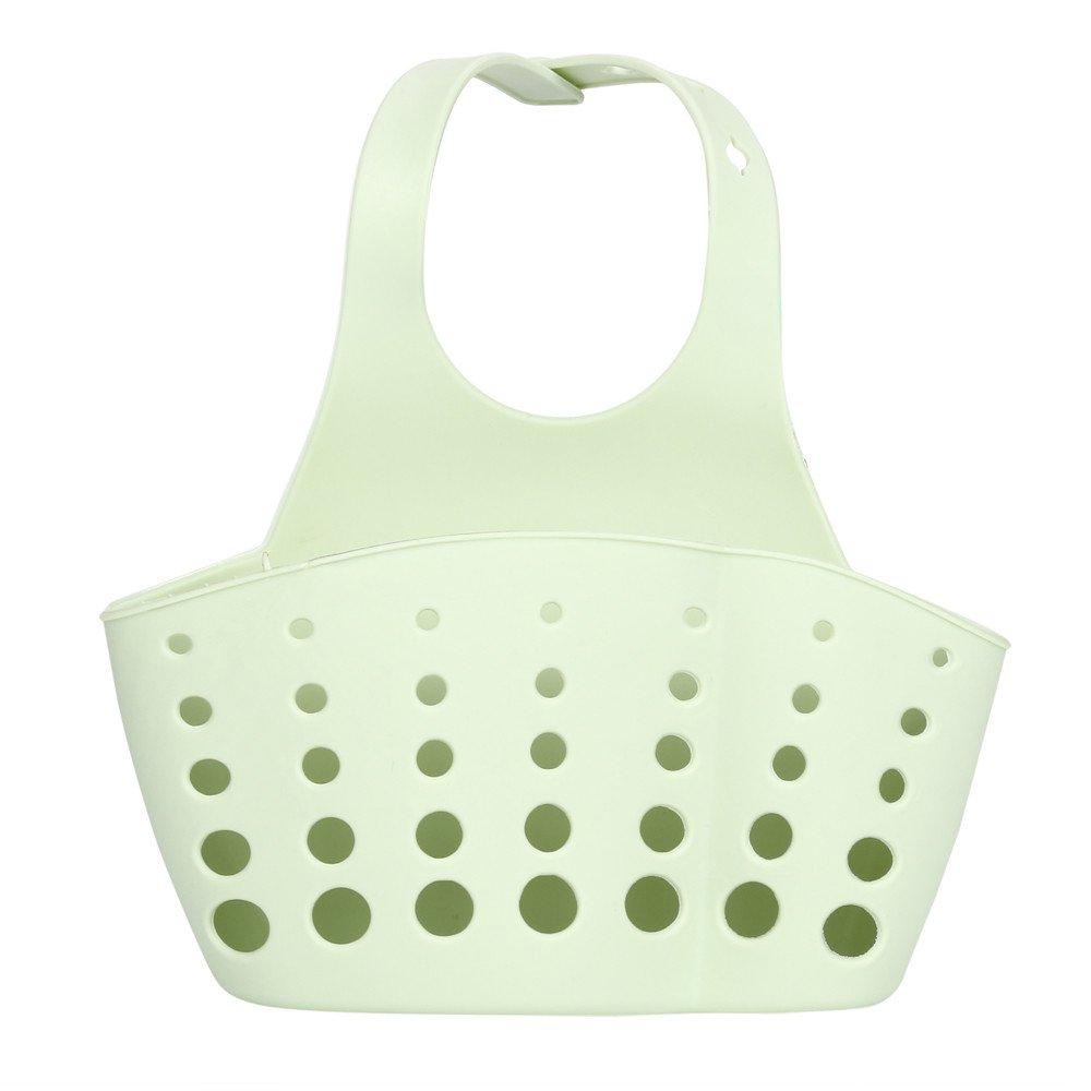 LiPing Portable Home Kitchen Hanging Bag Dish Cloths Rack Sponge Holder Clip Rag Storage for Kitchen Supplies Cleaning Utensils (Green)