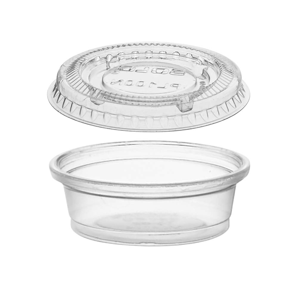 (125 Pack) 0.5-Ounce Plastic Portion Cups with Lids, Small Condiment Cups/Sauce Cups, Translucent Plastic Souffle Cups/Portion Containers by Tezzorio by Tezzorio Disposable