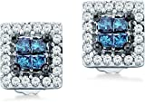 14k White Gold Princess and Round Cut Channel Set Blue and White Diamond Stud Earrings (1/3 cttw)