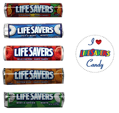 Life Savers Hard Candy Rolls, Bundle Variety Pack + Gift Magnet - 5 Flavors, Pep O Mint, Wild Cherry, Butter Rum, Wint O Green, 4 rolls of each, Total of 20 Rolls]()