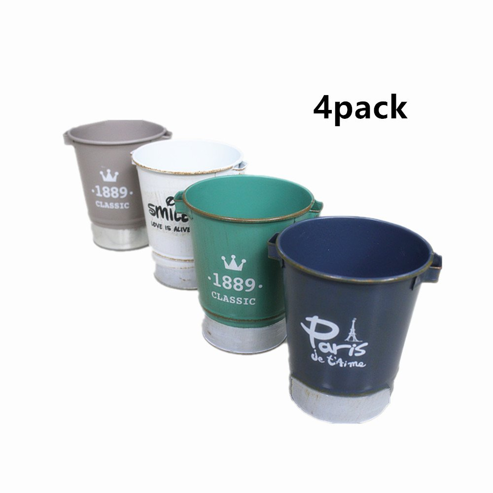 leoyoubei 4.75'' high 4 pack Vintage style Plant Pot Portable leak-proof Bucket Potted plants, make-up Pen holder or artificial plants wedding home decoration or kid's small toy or candy Multicolor