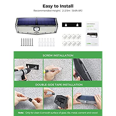 LITOM Solar Motion Lights 200 LED with Low Power Indicator Light, 4 Optional Modes and IP67 Waterproof Security Light for Backyard, Fence, Porch etc.- 2 Pack