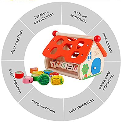 Wooden House Shape Sorter Fruits Lacing Blocks Bead Games Educational Toddlers Kids Toys