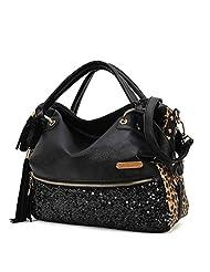 Feccoe Fashion Sexy Casual Leopard Tassels large Handbag Paillette Women Messenger Bag Tote shoulder Bag(Black)