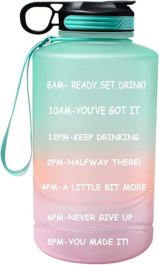 Botella de agua motivacional con marcas de tiempo y pajita, 2,2 litros de medio galón grande jarra de agua deportiva con asa, sin BPA, botellas de agua a prueba de fugas para deportes al aire libre