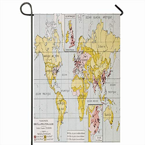Ahawoso Garden Flag 12x18 Inches Fashioned Antiquity Map World Population Density End 19Th Drawing Etching Century Vintage Antique Old Decorative Seasonal Double Sided Home House Outdoor Yard Sign