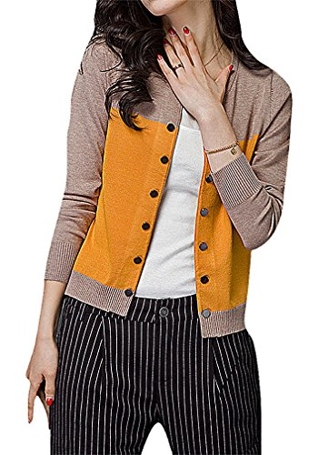 Maze, Women's Panelled Long Sleeve Button Up Ribbed Cuff O Neck Mini Cardigan, Yellow XL ,Manufacturer(XXL)