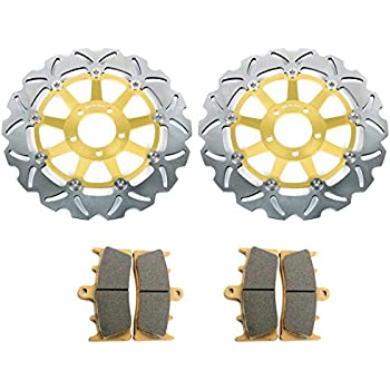 TARAZON Front Brake Discs Rotors and Pads Kit for Suzuki Hayabusa 99-07 GSXR1000 01 02 GSXR750 96-99
