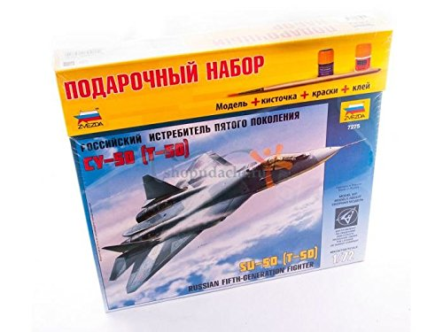 ZVEZDA 7275 P Russian Fifth-Generation Fighter Sukhoi SU-50 (T-50) Gift Set (Paints Included) Scale 1/72 70 Details Lenght 11.5