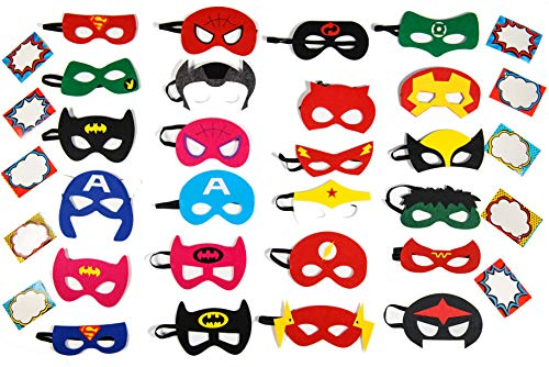 24 Superhero Party Masks, Children Party Suppliers Favors, 30 Name Tag -