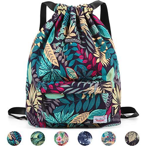 WANDF Drawstring Backpack String Bag Sackpack Cinch Water Resistant Nylon for Gym Shopping Sport Yoga (Blue Leaf 6032)