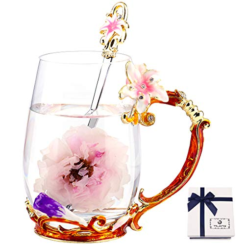 TILANY Enamel Tea Cup Coffee Mug Set With Spoon & Coaster - Beautiful Cappuccino Latte Cups - Clear Insulated Glass Mugs For Hot/Cold Drinks - Fancy Presents For Mom wife women (Pink Lily Flower Tall)
