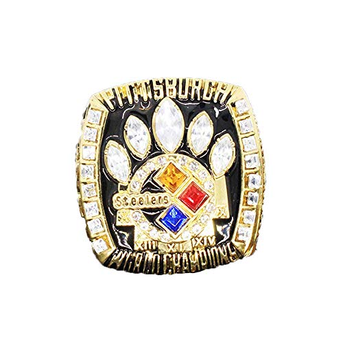 (Gloral HIF Mens Pittsburgh Steelers Super Bowl Championship Replica Ring Size 11 Gold Without Box )