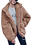 Lifeshe Women's Warm Faux Fur Oversized Coat Fluffy Outwear Jackets (Khaki, L)