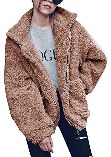 Lifeshe Women's Warm Faux Fur Oversized Coat Fluffy Outwear Jackets (Khaki, M)
