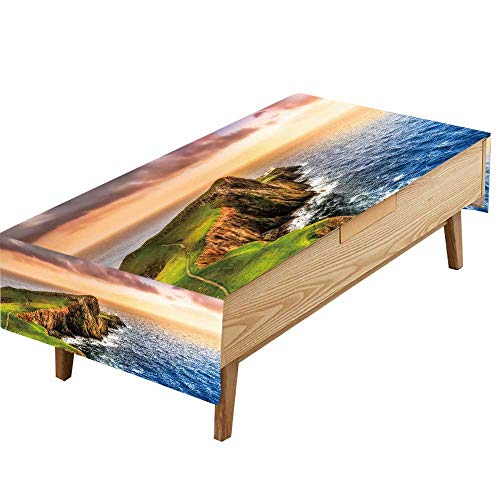 PINAFORE Indoor/Outdoor Spillproof Tablecloth Colorful Ocean Coast Panoramic Sun at Neist Point Lighthouse Scotland Great Buffet Table, Parties,Wedding & More W50 x L80 INCH
