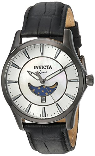Invicta Men's Vintage Stainless Steel Quartz Watch with Leather-Synthetic Strap, Black, 20 (Model: 23131)