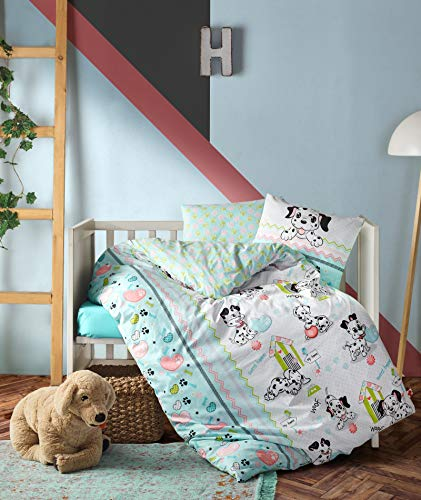 100% Cotton Dogs Nursery Baby Bedding, Toddlers Crib Bedding for Baby Girls, Duvet Cover Set, from OZINCI