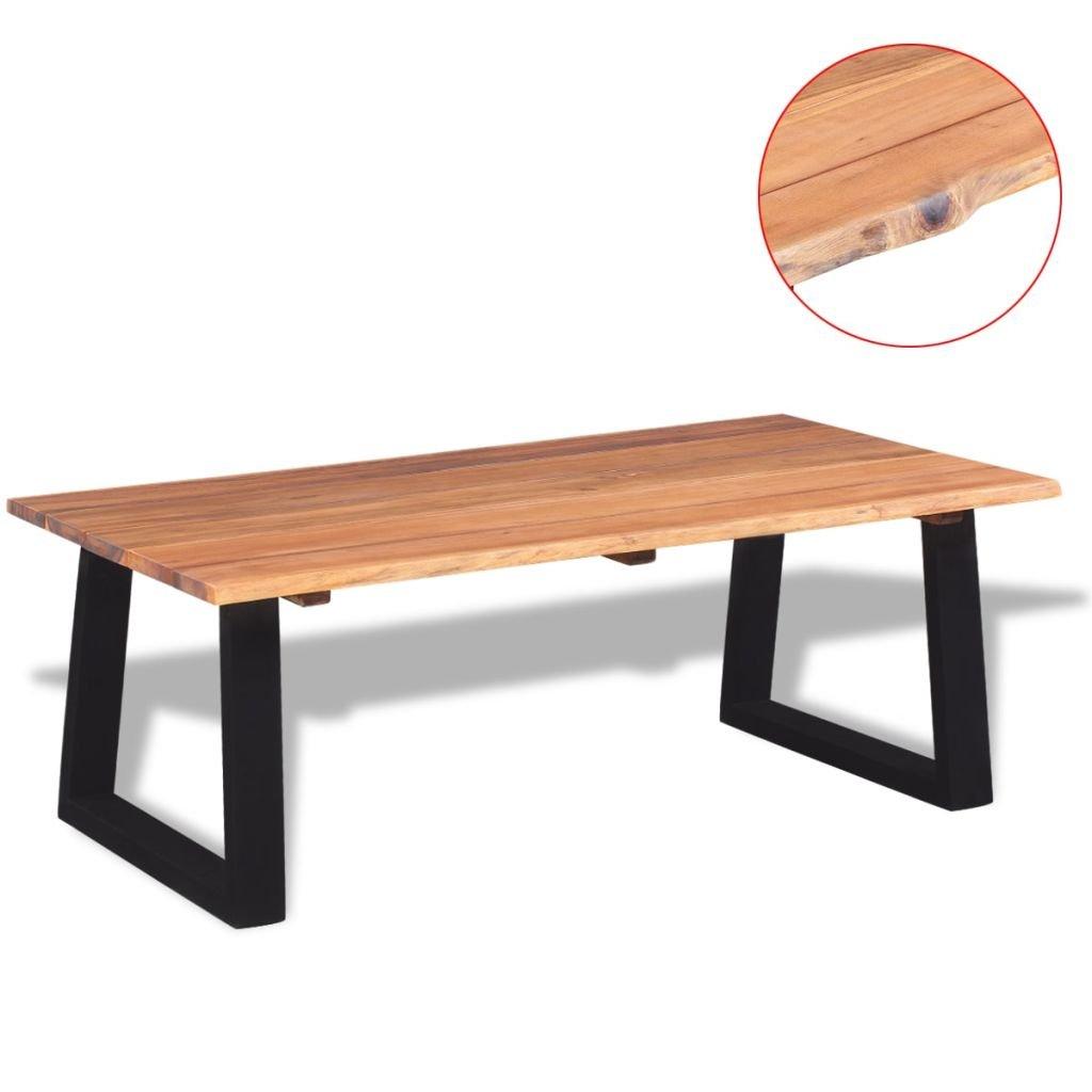 lingjiushopping Tisch Caff ¨ ¨ in Akazie Massivholz 110x 60x 40cm Farbe: Braun und Schwarz Material: Holz aus massivem Akazienholz mit einer Ölfinish (Tischplatte) + Metall pulverbeschichtet (Beine)