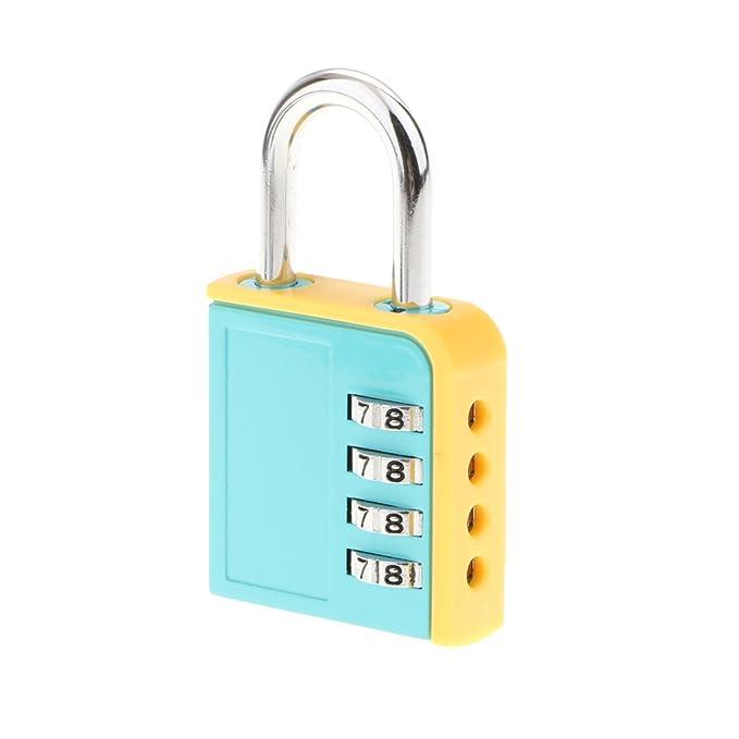 MagiDeal 4 Dial Combinaci/ón Contrase/ña Candado de Seguridad de Almacenamiento de Aleaci/ón de Zinc Cerradura de Puerta de Contrase/ña Verde