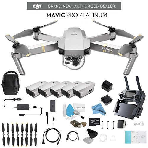DJI Mavic Pro Platinum Fly More Combo CP.PT.00000069.01 + 2 DJI Intelligent Flight Battery for Mavic Pro Platinum (5 Total) and Much More.