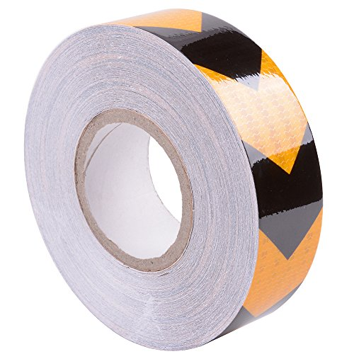 Brightplus 5cm x 50m Safety Warning Tape Reflective Adhesive Sticker For Trucks,Trailers,Cars,RV's,Campers,Boats and Mailboxes(Yellow-Black)