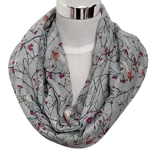 Egmy 1PC Womens Cute Bird Print Scarf Shawl Soft Scarves Winter Warm Gray