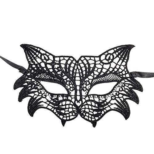 Party Diy Decorations - Half Face Hollow Out Lace Mask Halloween Nightclub Masquerade Party Ball Fancy Costume - Death Woman For Diamond New Year Sexy Man Face Catwoman ()