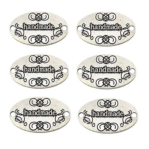 ZHU YU CHUN 50 Pcs Metal Handmade Tag Signs, Fashionable Jewelry Making Charms Findings, Antique Silver