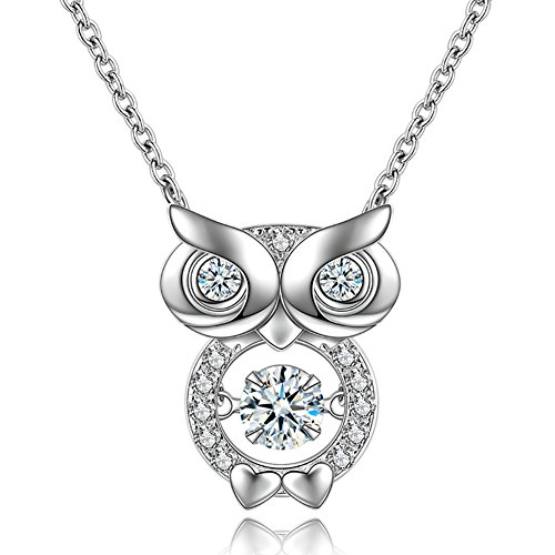 YAXING 925 Sterling Silver Dancing Crystal Owl Lover Bird Pendant Necklace 18