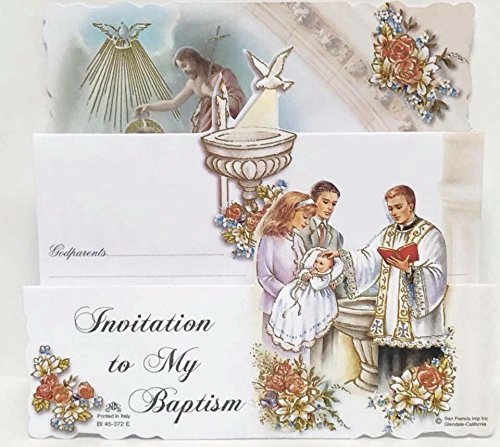 Invitation To My Baptism Priest Baptizing Baby Trifold Invitation with Envelopes 8 Count