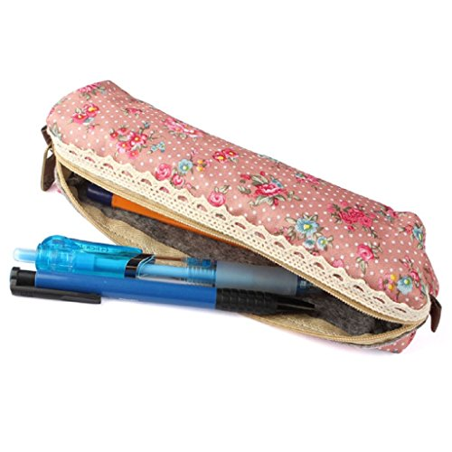 Oksale® Flower Print Lace Pencil Case Office Stationery School Storage Writting Makeup Cosmetic Pen Bag (Makeup In The 80s)