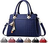 Fordicher Womens Handbags and Purses Ladies Fashion Top Handle Satchel Tote PU Leather Shoulder Bags Crossbody Bag (Blue)