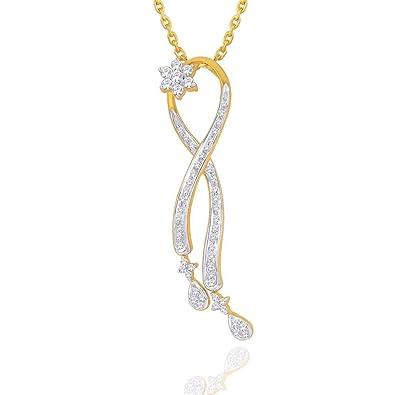 giantti Damen 9 Kt zweifarbig Gold Abend Diamant Halskette Anhänger ...