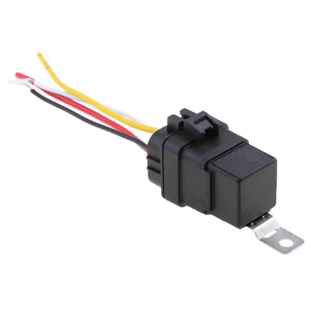 Gazechimp Relé y Conector Eléctrico Titular 12V 40A 4 Clavija de Aplicaciones Electrónicas para Vehículos
