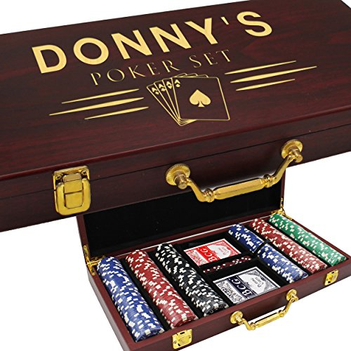 Personalized Poker Chipset (Personalized Poker Chip Set Case - Texas Holdem Player Gifts - Custom Engraved for Free (100 Chip Set))