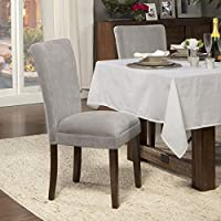HomePop Dove Grey Velvet Parson Chairs (Set of 2)